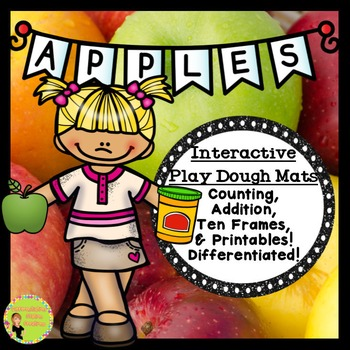 Apples! Interactive Play Dough Mats, Counting Centers, Printables
