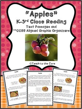 """Apples"" K-3 *CCSS Aligned* Close Reading Text Passages/Gr"