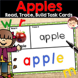 Apple activities - Say, Trace, Build Cards for Pre-K (PreK) and Literacy Centers