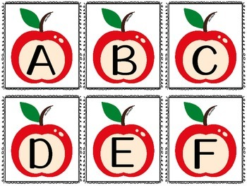 Apples: Matching Letters,Numbers,Ten Frames, Game of Memory & Pocket Chart Cards