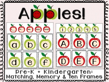 Apples: Matching Letters,Numbers,Ten Frames, Game of Memor