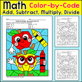 Apples Color by Number Addition, Subtraction, Multiplicati