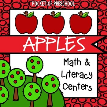 Apples Math and Literacy Centers for Preschool, Pre-K, and Kindergarten