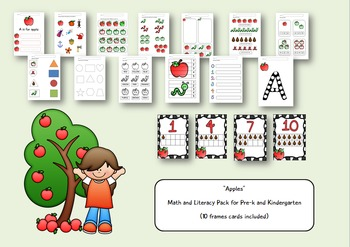Apples -  Math and Literacy Pack for Pre-k and Kindergarte