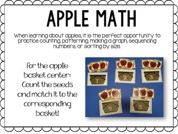 Apples Math and Literacy Unit for Kindergarten