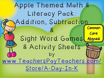 Apples Math/Literacy Pack: Addition, Subtraction & Sight Word Game & Activities