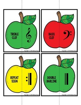 Apples Music Puzzles: Music Symbol Puzzle Cards for Elementary Students