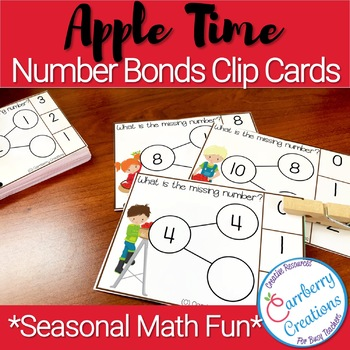 Apples Number Bonds Task Cards Center