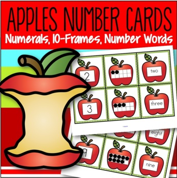Apples Number Matching Cards 0-10  - Numerals, 10-frames, Number Names FREE