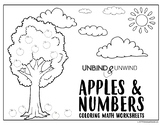 Apples & Numbers Coloring Math Worksheets