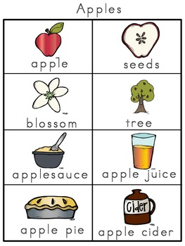 Apples Picture Word Bank and Picture Cards