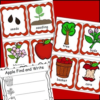 Apples Life Cycle Posters, Write the Room, Apple Themed Writing Activities