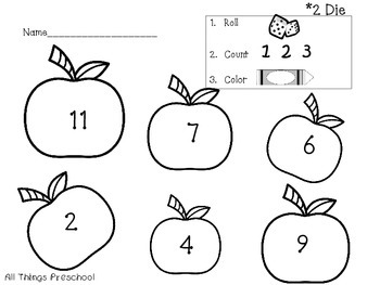 Apples: Preschool and Kindergarten Math; Roll. Count. Color.