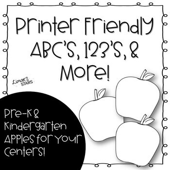 Apples Printer Friendly ABC's, 123's, & Fountas & Pinnell