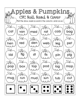 Apples & Pumpkins CVC Roll, Read, and Cover