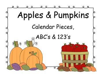 Apples & Pumpkins Calendar Pieces, ABC's & 123's