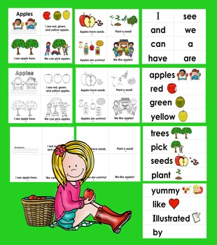 Apples Readers - 3 Reading Levels + Illustrated Vocab. for Word Wall