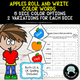Apples Roll and Write Color Words Activity