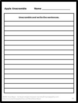Apples Sentence Unscramble Task Cards and Worksheets