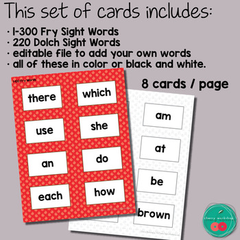 Apples Sight Words Cards