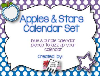Apples & Stars Calendar Kit {Purple & Blue version}