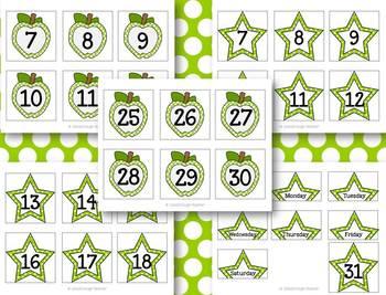 Apples & Stars Calendar Kit {Red & Lime Green version}