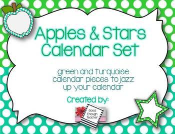 Apples & Stars Calendar Kit {Turquoise & Green version}