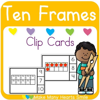 Apples Ten Frames Clip Cards