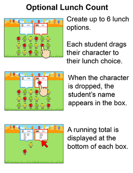 Apples Theme Attendance with Optional Lunch Count for Interactive Whiteboards
