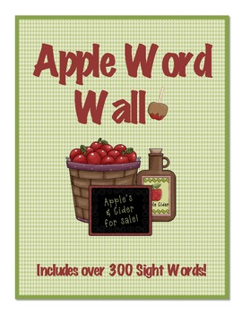 Apples Theme Word Wall (300 Fry Sight Words!!!)
