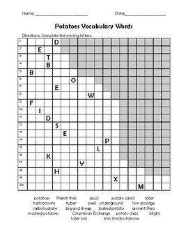 Potatoes Vocabulary Word Search and Activities