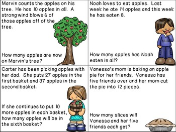 Apples Word Problem Cards