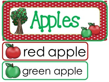 Apples Word Wall Weekly Theme Posters.