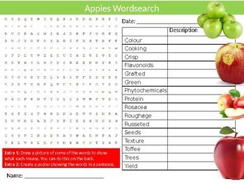 Apples Wordsearch Puzzle Sheet Keywords Homework Food Nutrition Fruit