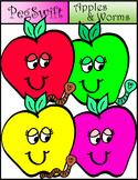 Apples & Worms Clip Art