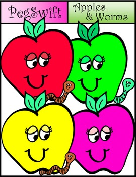 Apples & Worms Clip Art