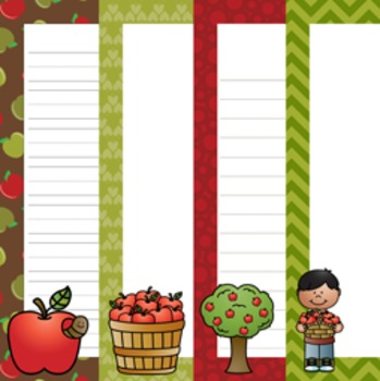 Apples Writing Paper - 3 Styles