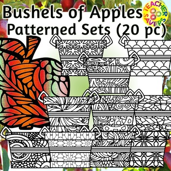 Apples and Baskets Coloring Clip Art Set Commercial and Personal Use