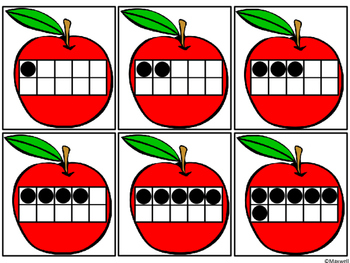 Apples and Baskets Number and Ten Frames Matching Color or Blackline