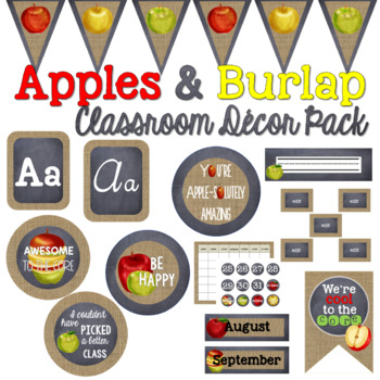 Apples and Burlap Decor Bundle (Editable)