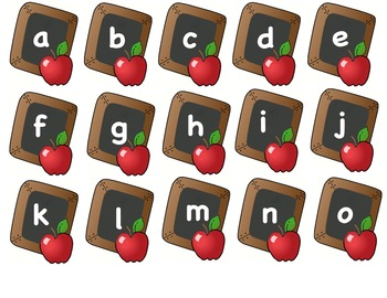 Apples and Chalkboard Alphabet Match Game