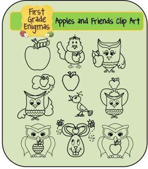 Apples and Friends Clip Art (apples, chevron apples, owls & apples-plus more!)