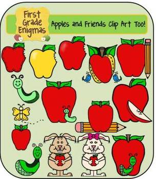Apples and Friends Clip Art (apples, owls & apples, crayon