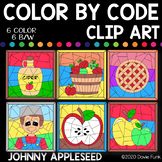 Apples and Johnny Appleseed Color by Number or Code Clip Art