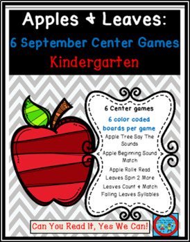 Apples and Leaves: 6 Kindergarten Common Core Center Games Bundle