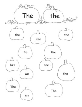Apples and Pumpkins High Frequency Word Pack Printables Worksheets Centers
