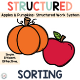 Apples and Pumpkins Sorting Task Boxes for Preschool and S