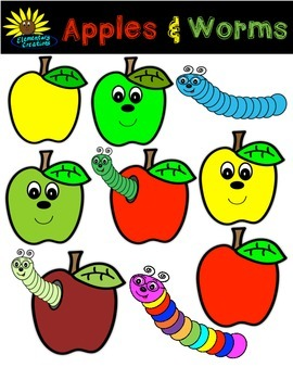 Apples and Worms Clipart