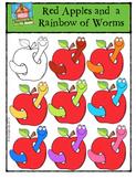 Apples and Worms {P4 Clips Trioriginals Digital Clip Art}