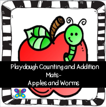 Apples and Worms- Playdough counting and addition mats
